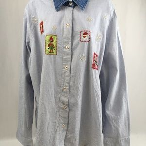 "Embroidered Striped ""Ugly Christmas"" Blouse Shirt"